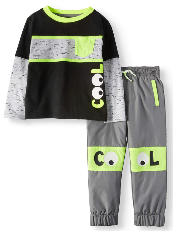 Graphic Long Sleeve Layered T-Shirt & Jogger Pants, 2pc Outfit Set