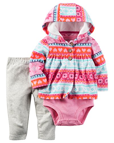 Carter's Baby Girls' Cardigan Pink Tribal Sets
