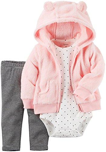 Carter's Baby Girls' Cardigan Pink Dot and Stripes Sets