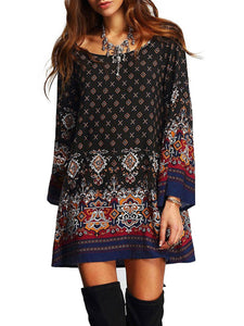 BOHO Womens Casual Floral Printed Dress