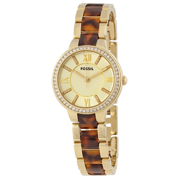 Virginia White Dial Gold-tone Stainless Steel and Tortoise-shell Acetate Ladies Watch