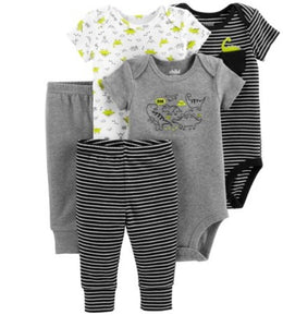 Short Sleeve Bodysuits & Pants, 5pc Set (Baby Boys)