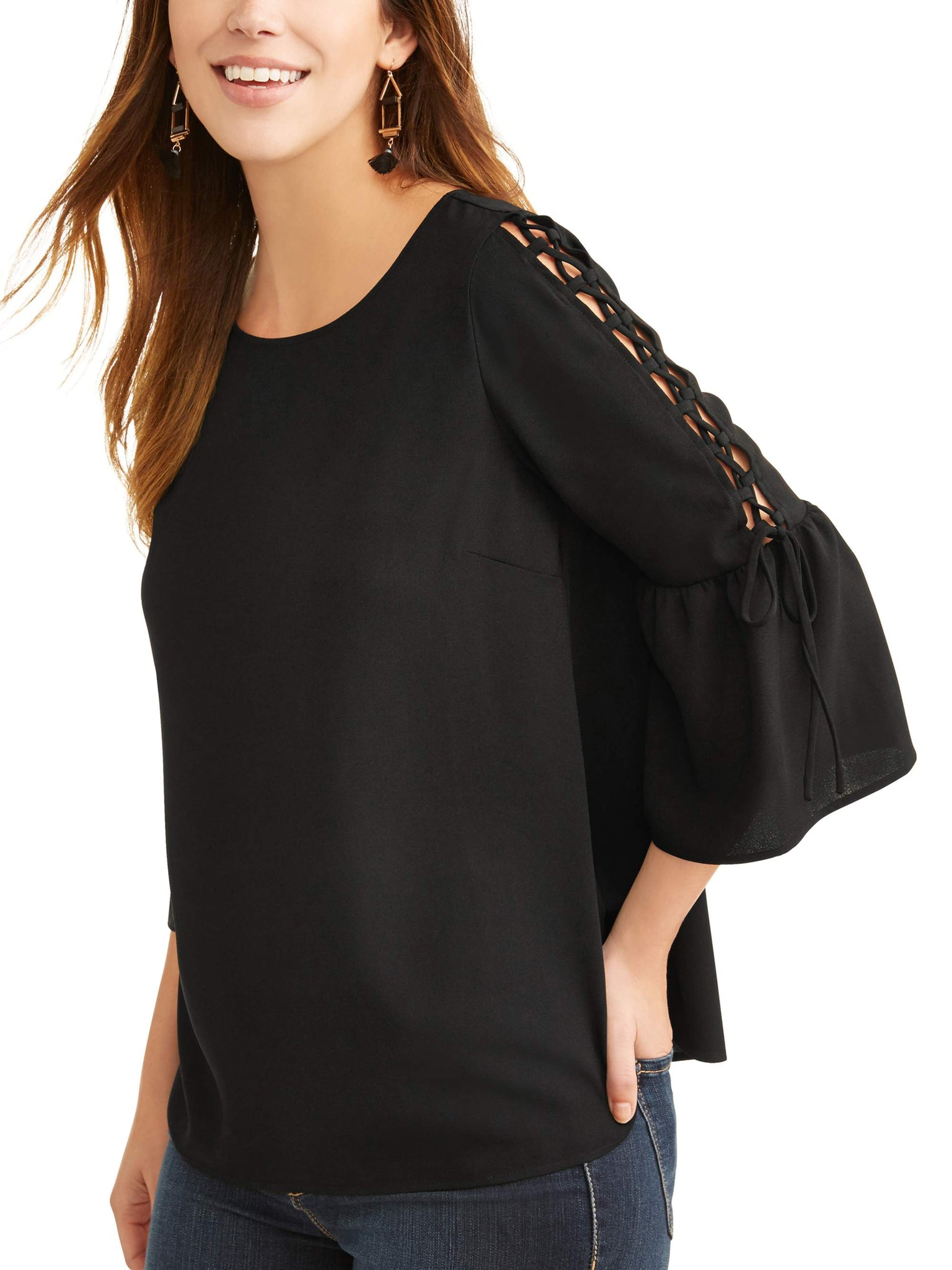 9005ba7c226ae8 Time and Tru Solid Lace Up Sleeve Blouse – KingComprasExpress