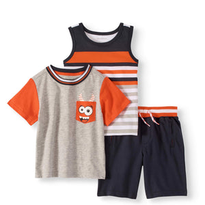 Toddler Boy Tank Top, Colorblock T-shirt & Knit Shorts, 3pc Outfit Set
