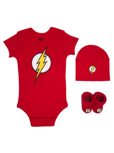 The Flash Short Sleeve Bodysuit, Booties & Cap, 3-piece Layette Gift Set