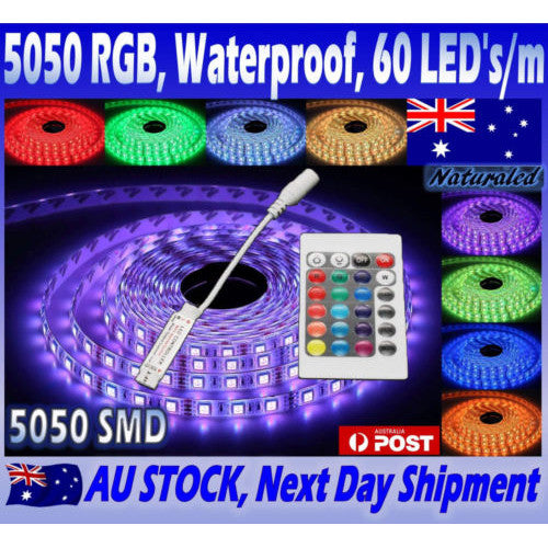 RGB LED Strip Lights IP65 Waterproof 5050 5M 300 LEDs 12V plus 24 key IR Controller - Elegant Lighting