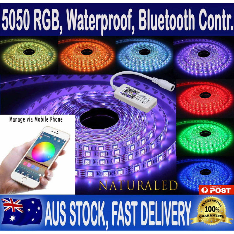 RGB LED Strip Lights IP65 Waterproof 5050 5M 300 LEDs 12V plus Bluetooth Controller - Control the lights from Mobile via app - Elegant Lighting