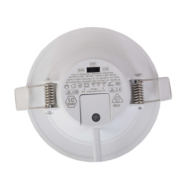 10W Dimmable Integrated Driver LED Downlight CCT Changeable SAA Approved 90mm cutout - elegant-lighting