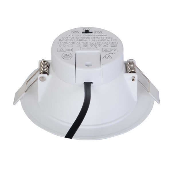 15W Dimmable Integrated Driver LED Downlight CCT Changeable SAA Approved 110 - 125mm cutout - elegant-lighting