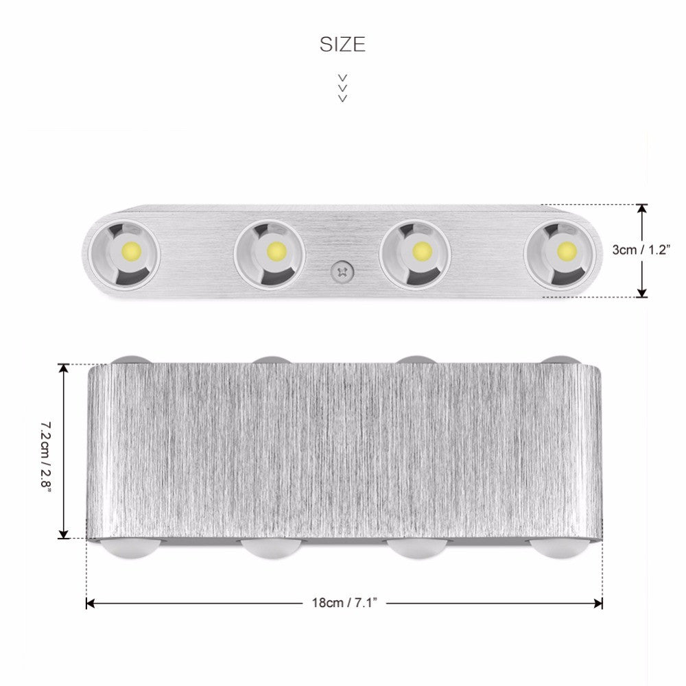 Modern Led  Up and Down 8W 8-LED Aluminum Indoor Wall Light - elegant-lighting