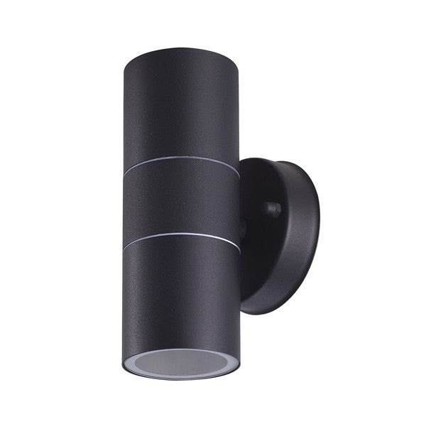 Matt Black Stainless Steel Outdoor Up and Down Wall Light GU10 LED bulb included - Elegant Lighting