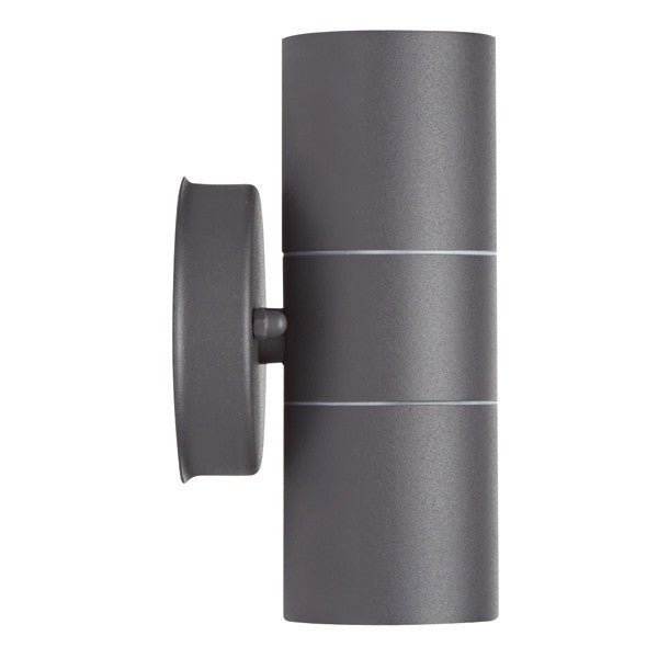 GU10 LED Matt Black/Grey Stainless Steel Outdoor Up and Down Wall Light - elegant-lighting