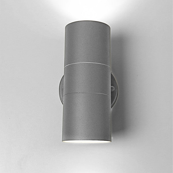 Matt Grey Stainless Steel Outdoor Up and Down Wall Light GU10 LED bulb included - Elegant Lighting