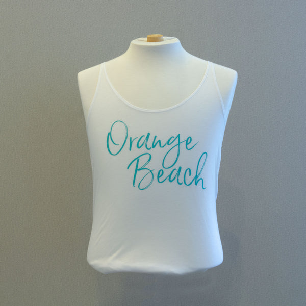 Orange Beach White Slouchy Tank