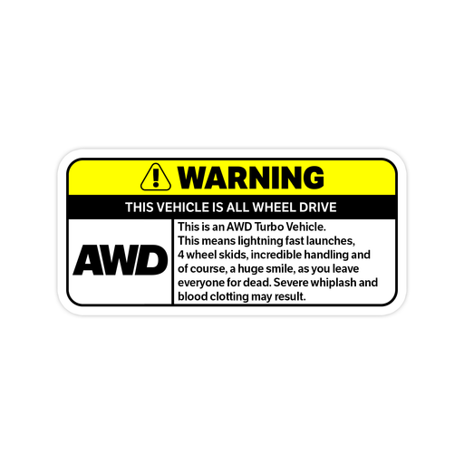 All Wheel Drive Warning Sticker