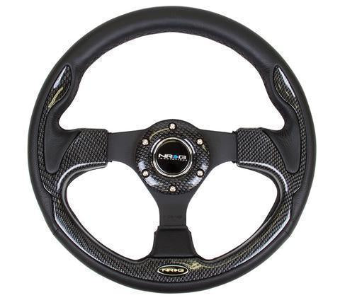 NRG Reinforced Steering Wheel- 320mm Sport Steering Wheel W/ Carbon Fiber Look Trim( 001Cbl)