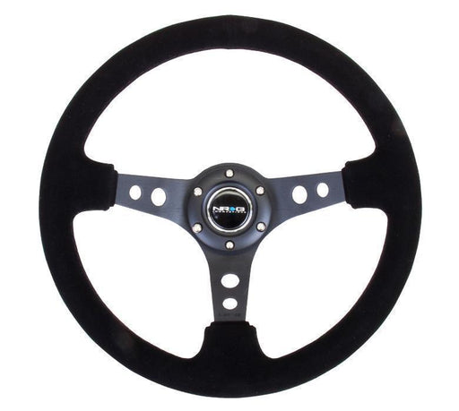 "NRG Reinforced Steering Wheel - 350mm Sport Steering Wheel (3"" Deep) - Black Spoke Suede Black Stitch"