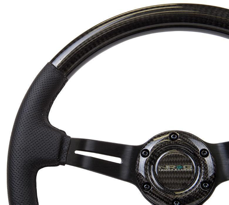 "NRG Carbon Fiber Steering Wheel W/ Leather Accent 350mm 1.5"" Deep Black Stiching"
