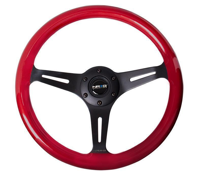 NRG Classic Wood Grain Wheel, 350mm 3 Black Spokes, Red Pearl/Flake Paint