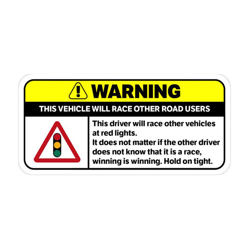 Red Light Racing Warning Sticker