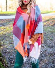 Colourful blanket scarf on model - Spoonie Clothing at Euphoria Boutique