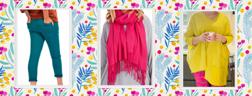 Fifty plus womens fashion - magical stretch trousers, pink scarf, and yellow tunic - at Euphoria Boutique