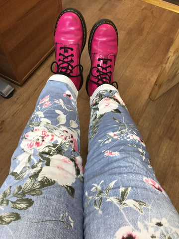 Colourful Elasticated Trousers with pink boots at Chronic Illness Clothing for Euphoria Boutique