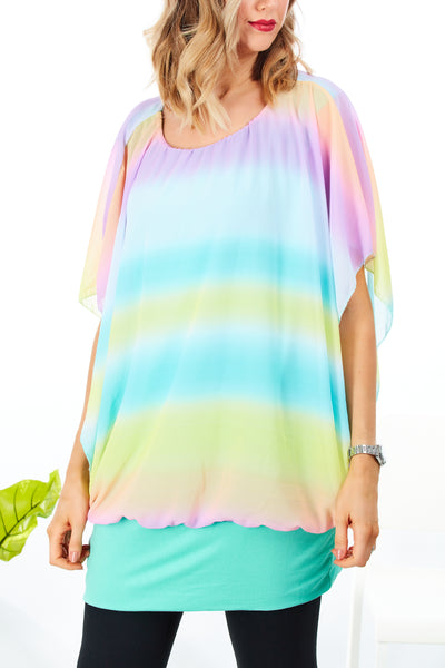 Claire colourful top - Pastel