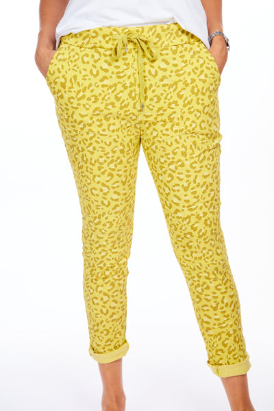Magical stretch animal print joggers - Yellow