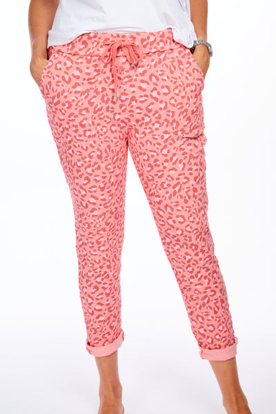 Magical stretch animal print joggers - Coral