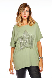 Webbed star top - Olive Green