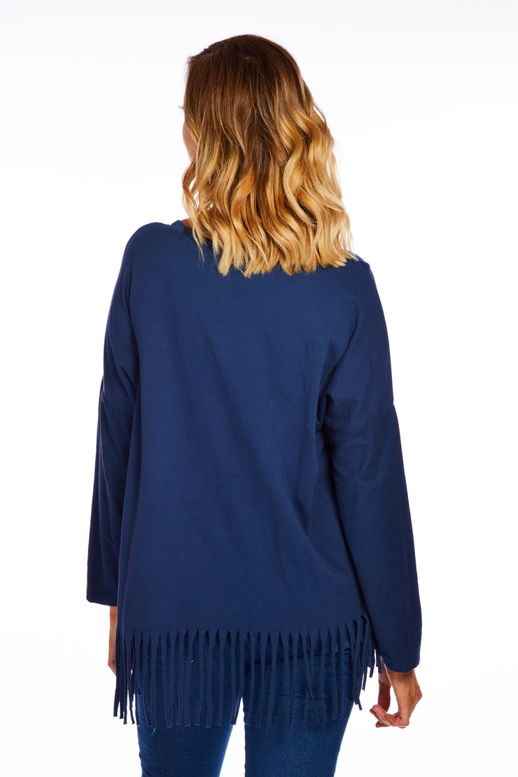 Frieda tassel sweater - Navy
