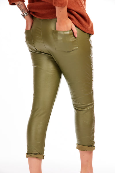 Leather look crinkle joggers - Olive