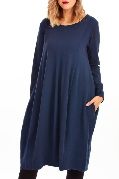 Rina ribbed slouch dress - Navy