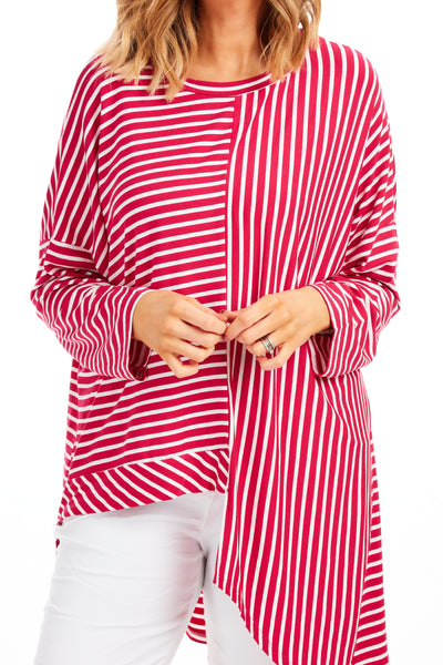 Claudia stripy loose fit top - Raspberry