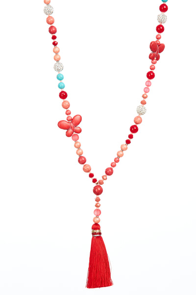 Butterfly tassel chain - Watermelon
