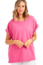 Tommy Tee jersey loose fit top - Hot Pink