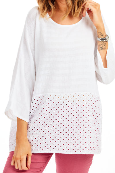 Whistledown cotton top - White