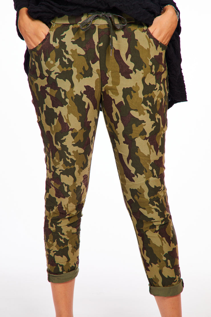 Magical stretch trousers - Camo maroon