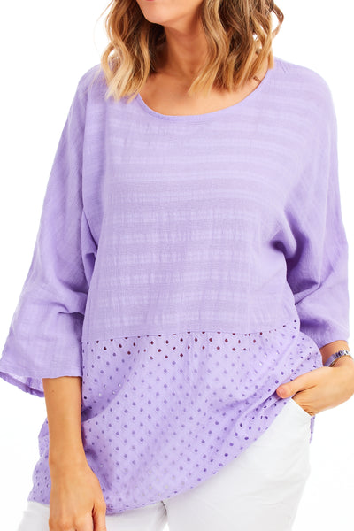 Whistledown cotton top - Lilac