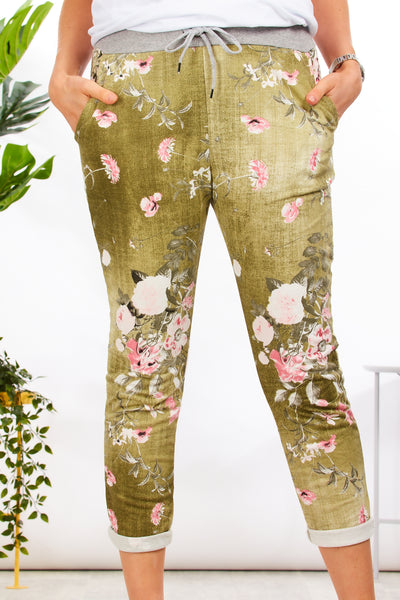 Alice joggers - Floral OLIVE wash