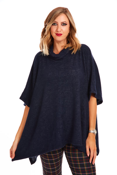 Cosy fleece poncho jumper - Dark Denim