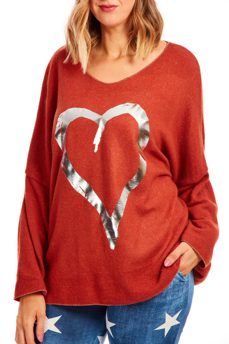 Cosy fleece heart jumper - Rust Orange