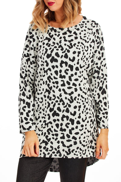 Edna animal print tunic dress - White