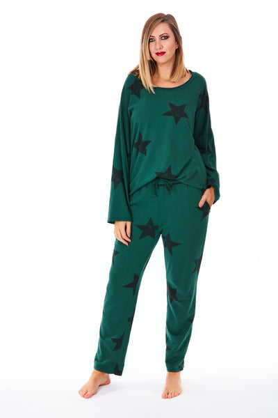 Jersey star 2 piece lounge suit - Bottle Green