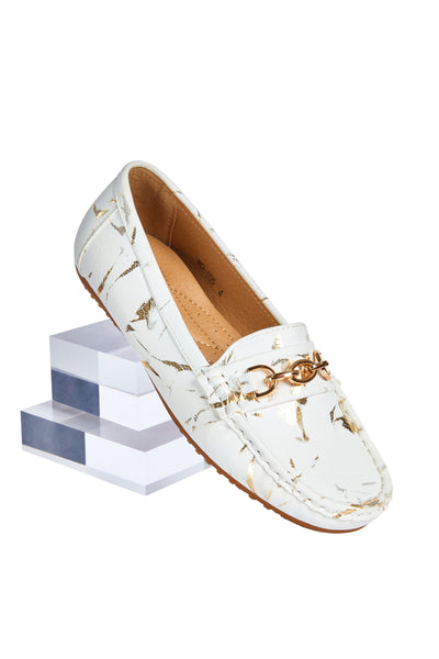 Comfort loafers - White with Gold