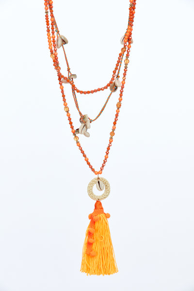 Layered tassel chain - Orange