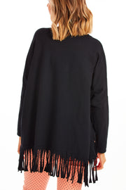 Tristan tassel sweater - Black