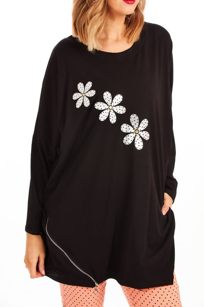 Daisy dream loose fit tunic - Black