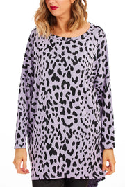 Edna animal print tunic dress - Lilac